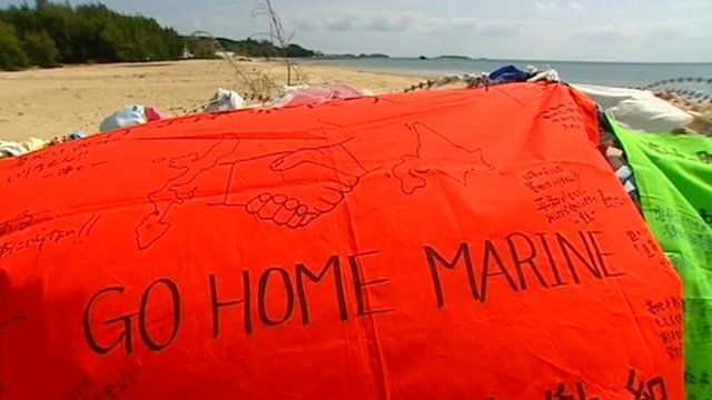 Islanders' protest signs against US marines on Okinawa