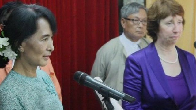 Aung San Suu Kyi and European Union foreign policy chief Catherine Ashton