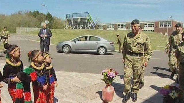 Prince Charles arrives to meet the Gurkhas