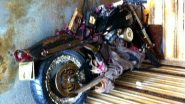 Rusty Harley Davidson inside trailer