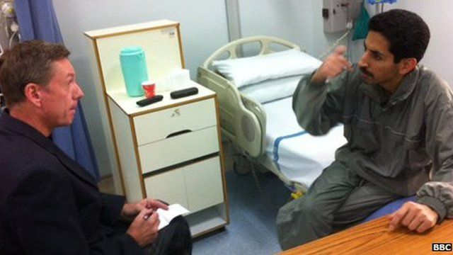 The BBC's Frank Gardner speaks to Abdulhadi al-Khawaja in a hospital in Bahrain (1 May 2012)