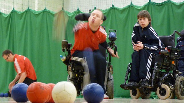 Boccia players in action