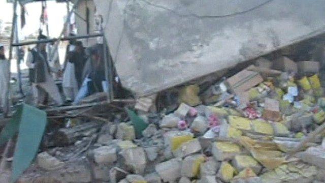 Building damage following blast in Bajaur