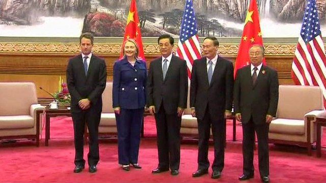 Hillary Clinton and Timothy Geithner hold talks with Chinese Premier Wen Jiabao