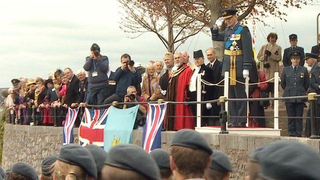 Duke of Gloucester taking Air Cadet salute
