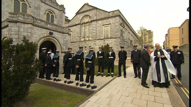 Royal guard at HMS Ardent ceremony