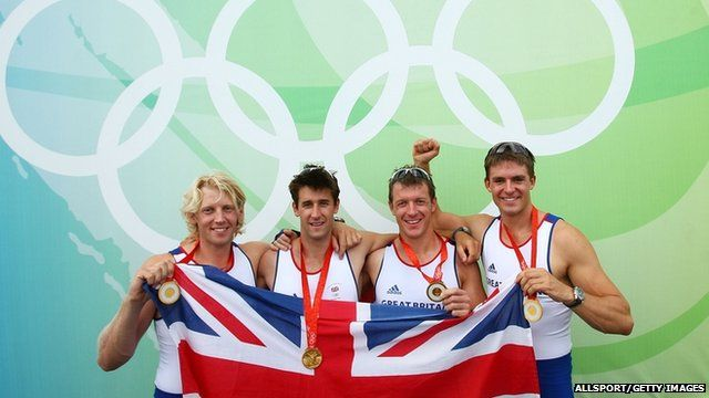 Left to right: Andrew Triggs Hodge, Tom James, Steve Williams and Pete Reed of Great Britain pose after victory in the Men's Coxless Fours Final at the 2008 Beijing Olympics