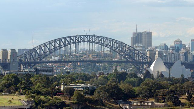 The Sydney skyline, dominated by the Harbour Bridge.