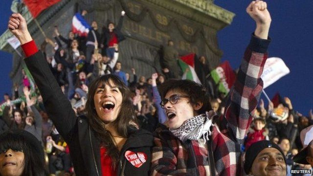 French voters celebrating in Paris