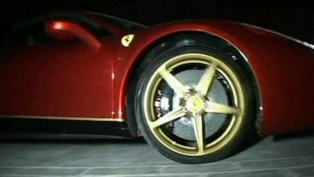 Ferrari on ancient monument in China