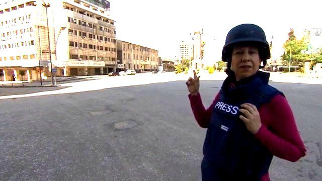 The BBC's Lyse Doucet reporting from a deserted square in Homs