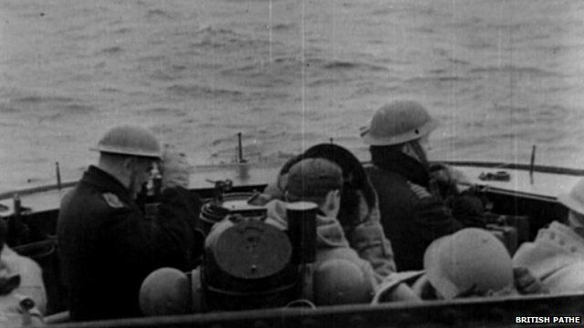 Men in a boat during World War II