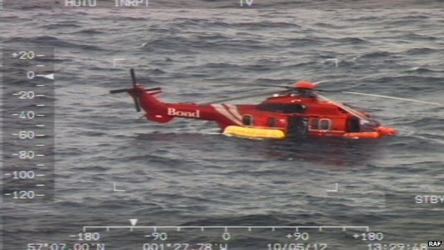 Helicopter in the North Sea