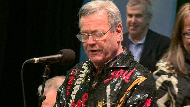 Tony Blackburn singing in Blackburn