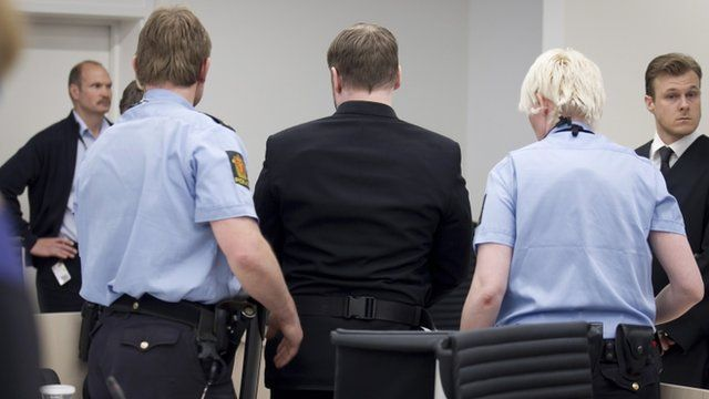 Anders Bering Breivik in court with security guards