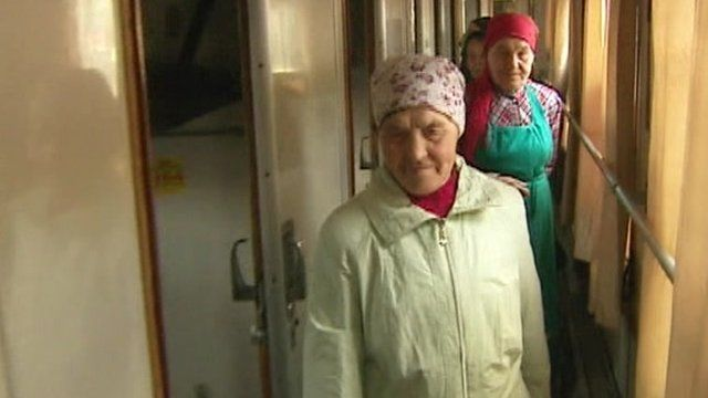 The Buronovo Grannies arriving in Moscow