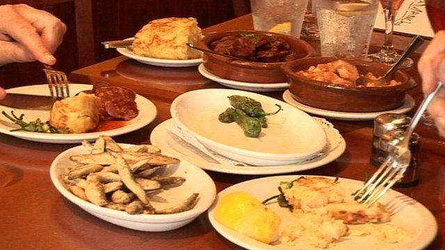 Tapas selection in restaurant