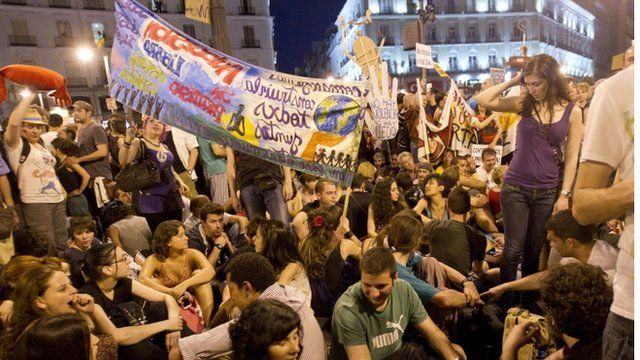 "Spain's ""Indignants"" demonstrate at the Puerta del Sol square in Madrid"