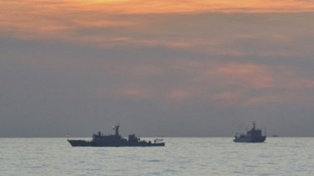 Two Chinese surveillance ships near the Scarborough Shoal on 10 April