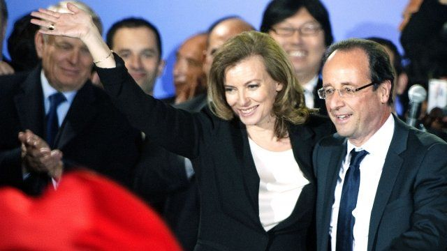 Valerie Trierweiler with Francois Hollande the night of his election win