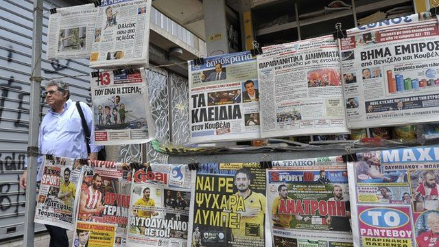 Newspapers at a kiosk in Athens, Greece