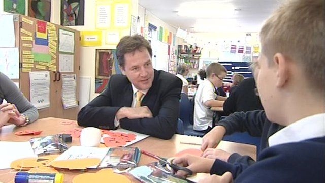 Nick Clegg in a classroom