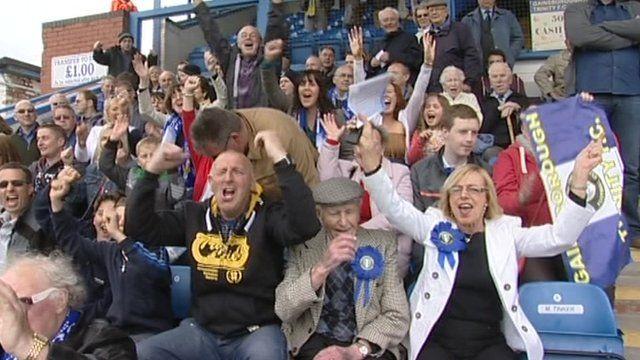 Fans cheer Gainsborough Trinity