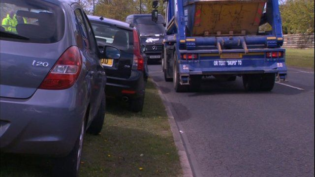 Cars parked on roadside