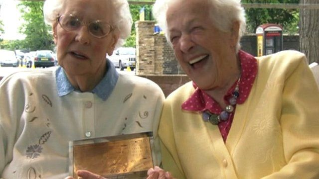 BBC Radio Humberside presenters Beryl (left) and Betty with their award