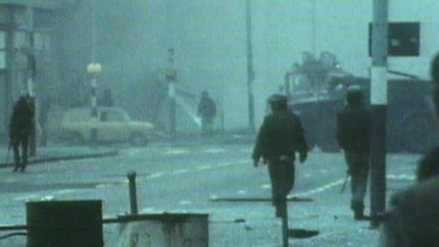 Street scene during the troubles in Northern Ireland