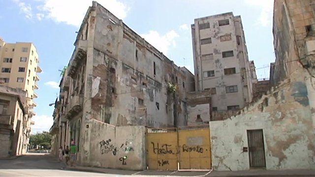 Crumbling housing in Havana, Cuba