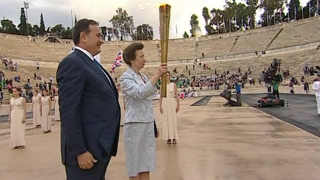 The Princess Royal receives the Olympic flame