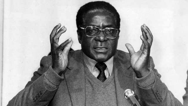Robert Mugabe speaking as Prime Minister of Zimbabwe at a press conference in 1980