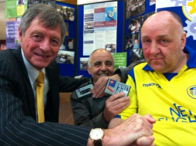 Richard Sharp with Allan Clarke and the tape recording of messages