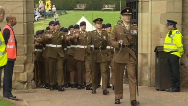 Soldiers on parade in Warwick Castle