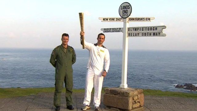 The torch is lit for Olympic sailor Ben Ainslie