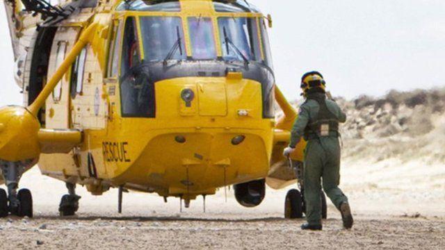 RAF Sea King landing on Winterton beach