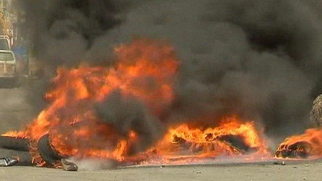 Tyres set on fire
