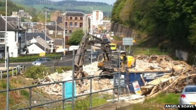 Borders railway: Galashiels flats cleared from route