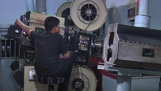 A movie projector in a cinema in Kabul