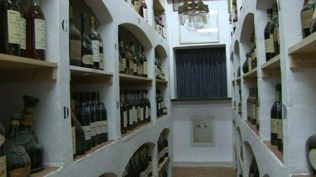 Cognac on shelves