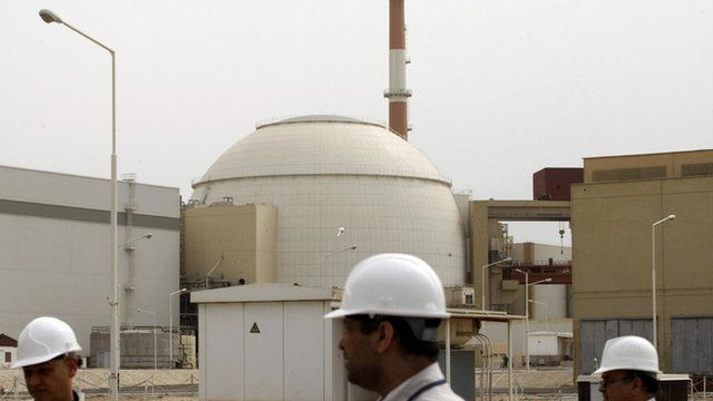 Iranian technicians at Bushehr nuclear power plant - file photo