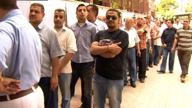 Voters queuing in Cairo