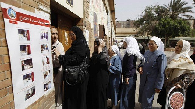 Voters queue at a polling station in Cairo