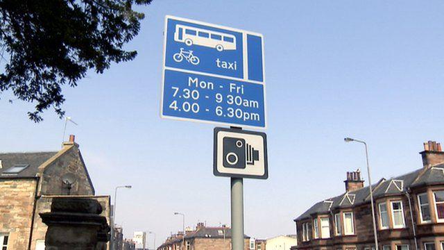 Bus lane and camera signs in Edinburgh