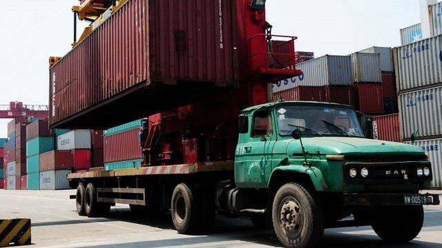 Container loaded onto truck at Qindao, China