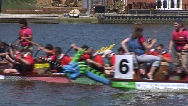Racing dragon boats in Lowestoft