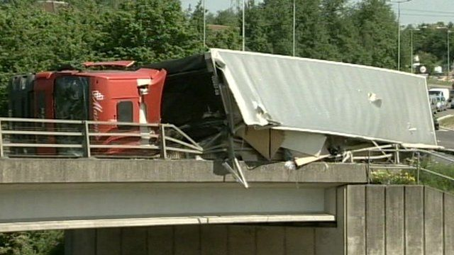 Lorry crash at Copdock interchange