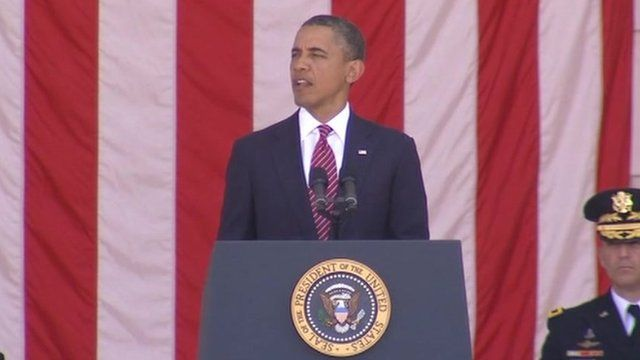 US President Barack Obama delivers the Memorial Day address to families of the fallen at Arlington Cemetery, Virginia 28 May 2012