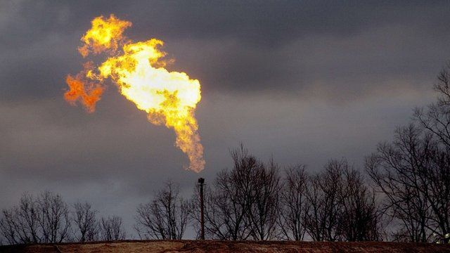 Gas flare at a US shale gas site